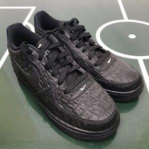 Nike Air Force 1 Black Crocodile Embossed Sneakers